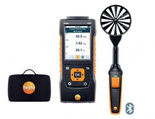 Testo 440 Прибор для измерения скорости воздуха и оценки качества воздуха в помещении в комплекте с Bluetooth крыльчаткой 100мм (0635 9431) и кейсом