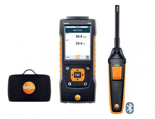 Testo 440 Прибор для измерения скорости воздуха и оценки качества воздуха в помещении в комплекте с Bluetooth зондом влажности и температуры (0636 9731) и кейсом