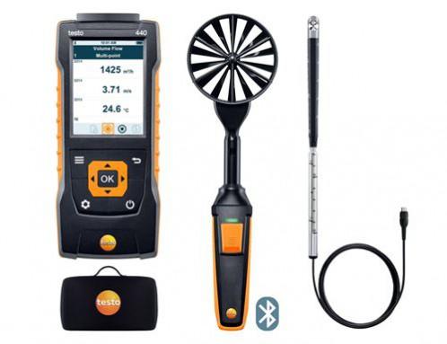 Testo 440 Прибор для измерения скорости воздуха и оценки качества воздуха в помещении. Комплект для вентиляции № 2 с Bluetooth крыльчаткой 100мм (0635 9431), зондом с крыльчаткой 16 мм (0635 9532)  и кейсом (0516 4401)