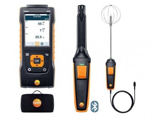 Testo 440 Прибор для измерения скорости воздуха и оценки качества воздуха в помещении. Комплект уровня комфорта с Bluetooth зондом СО2 (0632 1551), зондом турбулентности (0628 0152) и кейсом (0516 4401)