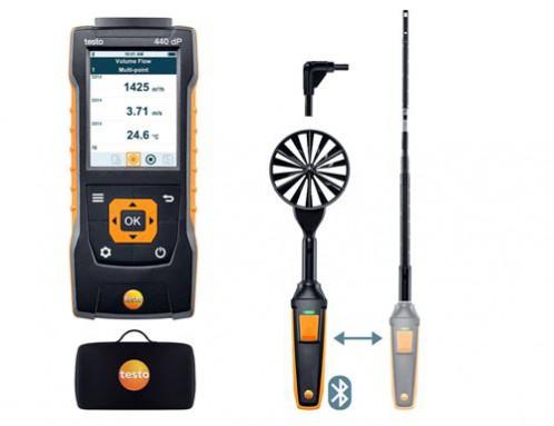 Testo 440 dP Прибор для измерения скорости воздуха и оценки качества воздуха в помещении со встроенным сенсором дифференциального давления. Комплект для вентиляции № 1 с Bluetooth крыльчаткой 100мм (0635 9431), зондом с обогреваемой струной (0635 1570), т