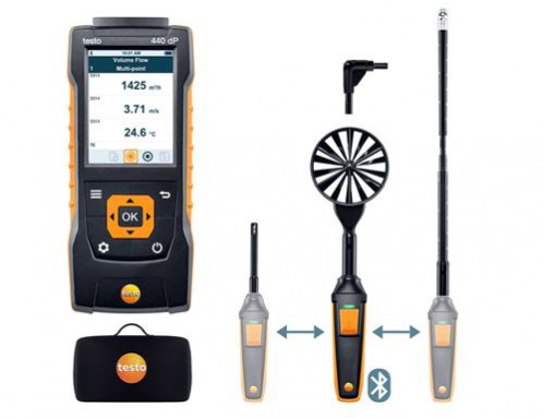 Testo 440 dP Прибор для измерения скорости воздуха и оценки качества воздуха в помещении со встроенным сенсором дифференциального давления. Комплект для вентиляции № 2 с Bluetooth крыльчаткой 100мм (0635 9431), зондом-крыльчаткой 16 мм (0635 9570), зондом